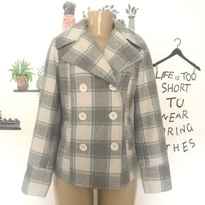 Old Navy white gray blue plaid wool pea coat Small